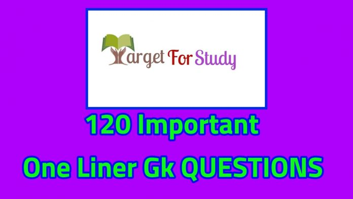 120 IMPORTANT ONE LINER GK QUESTIONS